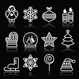 与冲程的圣诞节白色象在黑色 免版税图库摄影