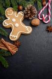 与冷杉分支、锥体、香料和姜饼的圣诞节背景 库存照片