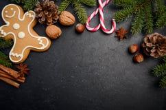 与冷杉分支、锥体、香料和姜饼的圣诞节背景 免版税库存照片
