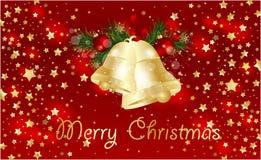 与冷杉分支和圣诞节铃声的圣诞节背景 免版税库存照片