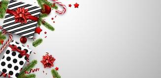 与冷杉分支和礼物的圣诞节背景 皇族释放例证