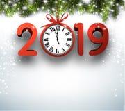 2019与冷杉分支和红色时钟的新年背景 皇族释放例证