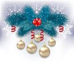 与冷杉分支和玻璃球的新年背景 库存图片