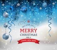 与冷杉分支圣诞节球和弓的圣诞节背景 库存例证