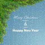 与冷杉分支的圣诞节背景 免版税图库摄影