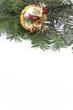 与冷杉分支的圣诞节装饰  免版税库存图片
