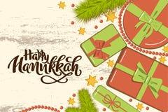 与冷杉分支的平的被放置的圣诞节大模型,有弓的明亮的礼物盒,小珠和星在木背景与手拉 向量例证