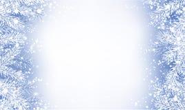 与冷杉分支的白色海报和雪为冬天的圣诞节 库存例证
