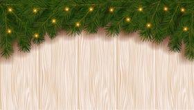 与冷杉分支边界和光的圣诞节背景 库存图片