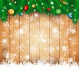 与冷杉和拷贝空间的圣诞节背景 免版税库存图片