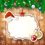 与冷杉和标签的圣诞节背景 库存图片