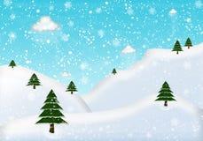 与冷杉和雪的相框冬天 皇族释放例证