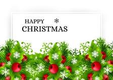 与冷杉和霍莉装饰的圣诞节背景 免版税库存图片