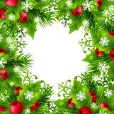与冷杉和霍莉装饰的圣诞节背景 图库摄影