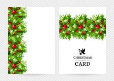 与冷杉和霍莉装饰的圣诞节背景 免版税库存照片