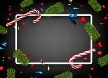 与冷杉和serpnanitine的圣诞节背景 向量例证