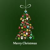 与冷杉木模板的圣诞卡 库存图片