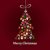 与冷杉木模板的圣诞卡 免版税库存照片