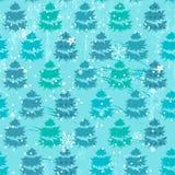与冷杉木的无缝的蓝色样式 免版税库存照片