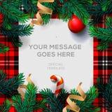 与冷杉枝杈的圣诞快乐背景 库存例证
