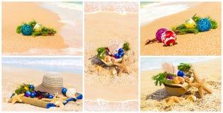 与冷杉枝杈的圣诞节球在沙子,集合 库存图片