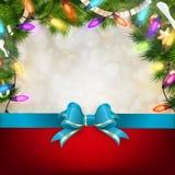 与冷杉枝杈的圣诞节背景 10 eps 图库摄影