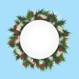 与冷杉的圣诞节背景在圈子和光亮的星分支 向量例证