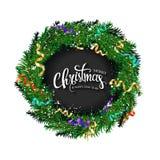 与冷杉花圈的圣诞卡分支 库存例证
