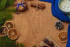 与冷杉,围巾,干桔子,锥体,饼干,桂香的圣诞节背景 免版税库存图片