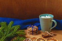 与冷杉,围巾,干桔子,饼干,桂香的圣诞节背景 库存照片