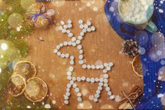 与冷杉,鹿,围巾,干桔子,锥体,饼干,桂香的圣诞节背景 库存图片