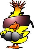 与冷静sunglass的聪明的拳击鸡 图库摄影