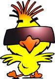 与冷静sunglass的聪明的舞蹈演员鸡 免版税图库摄影