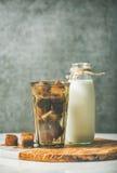 与冷冻咖啡冰块和牛奶的玻璃在瓶 免版税库存照片