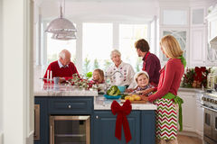 与准备圣诞节膳食的祖父母的家庭在厨房里 免版税库存图片