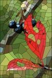 与凋枯的叶子和成熟莓果的彩色玻璃 免版税库存图片