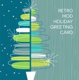 与减速火箭的抽象圣诞树设计的假日卡片 皇族释放例证