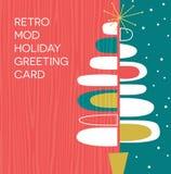 与减速火箭的抽象圣诞树设计的假日卡片 向量例证