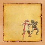 与减速火箭的明信片战斗的两个中世纪骑士 免版税库存照片