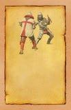 与减速火箭的明信片战斗的两个中世纪骑士 免版税库存图片