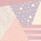 与减速火箭的样式纹理、样式和几何元素的时髦孟菲斯样式背景 图库摄影