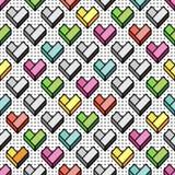 与几何五颜六色的心脏的无缝的样式 皇族释放例证