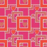 与几何元素心脏桃红色colo的无缝的明亮的样式 免版税库存图片