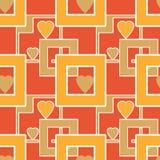 与几何元素心脏的无缝的明亮的样式构造b 库存图片