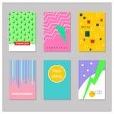 与几何和抽象元素的卡片 免版税库存图片