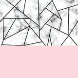 与几何形状的传染媒介大理石纹理设计,黑白使有大理石花纹的表面,现代豪华背景 向量例证