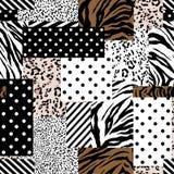 与几何样式、圆点和条纹混合的时髦动物皮毛在现代补缀品拼贴画样式无缝的设计 向量例证