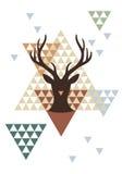 与几何样式,传染媒介的圣诞节鹿 免版税图库摄影