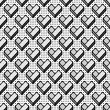 与几何灰色心脏的无缝的样式 图库摄影