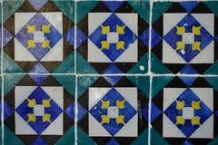 与几何简单和对比正方形的Azulejos装饰 免版税库存照片